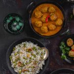 Peas Pulao And Fish Kofta Curry