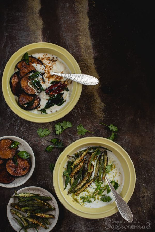 Aubergine And Okra Raita