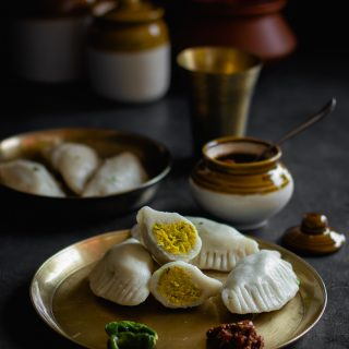 Dal Pitha, Bihar Style (Rice Dumplings with a Spicy Dal Stuffing)
