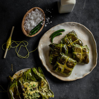 Sheem Paturi (Flat Beans with Mustard in Banana Leaf Parcels)