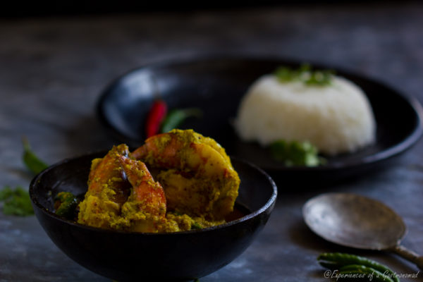 Shorshe Narkel Chingri (Prawns with Grated Coconut and Mustard Paste)