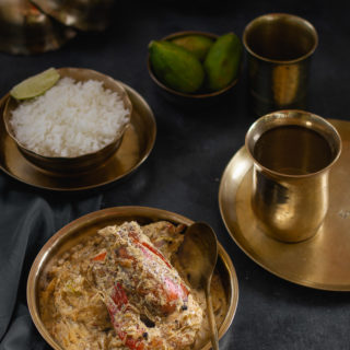 Gondhoraj Chingri (Prawns in Cream and Gondhoraj Lebu)