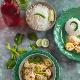 Lebu Lonka Murgi (Chicken with Gondhoraj Lebu and Green Chillies)