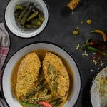 Aam Bhindi Shorshe Ilish (Hilsa with Okra, Green Mangoes and Mustard)