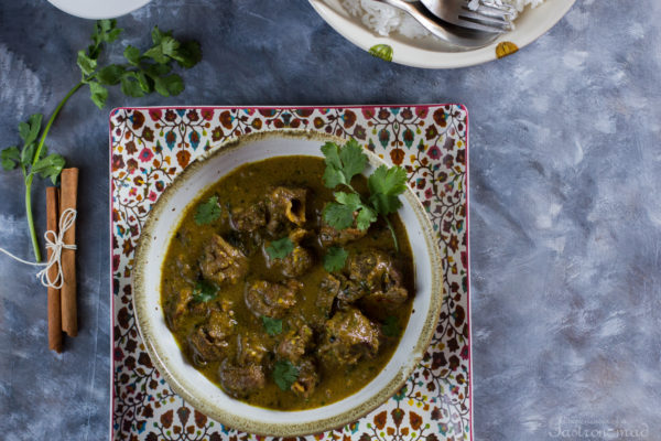 Dhaniwal Korma (Mutton Curry with Coriander Leaves, Kashmiri Style)
