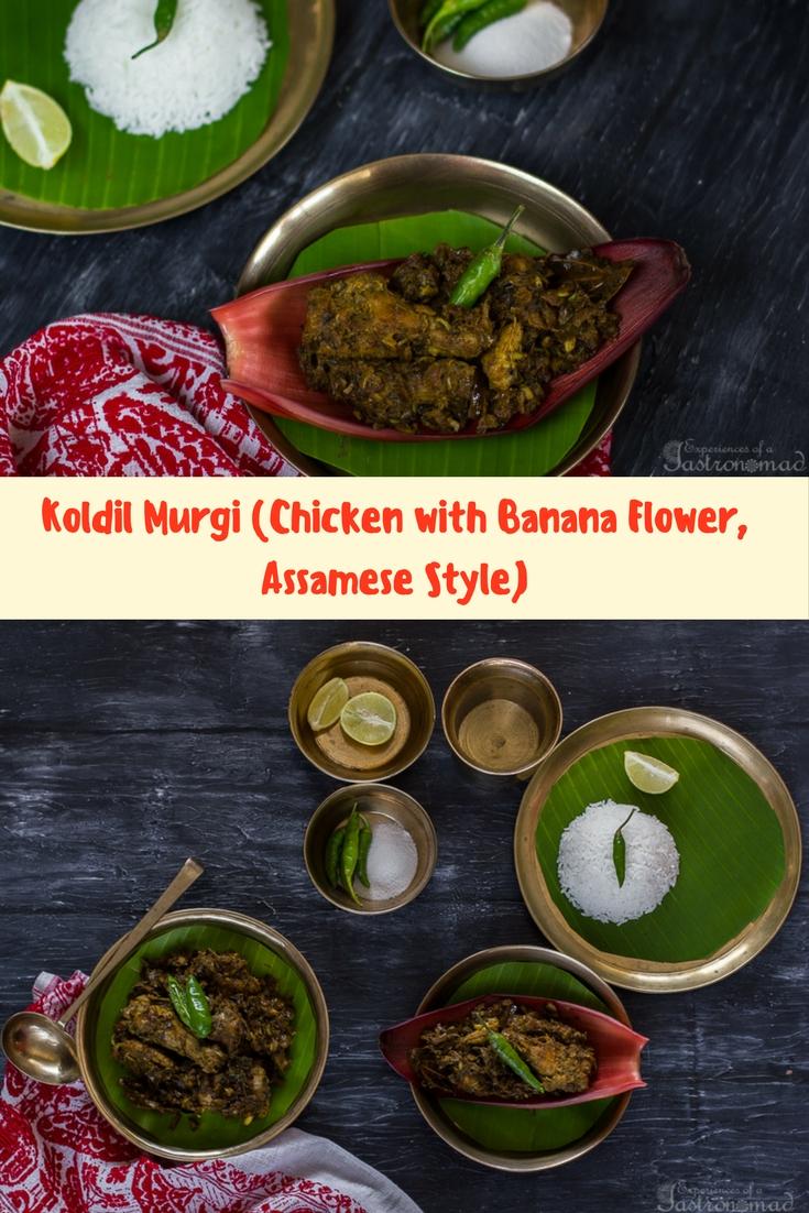 Koldil Murgi (Chicken with Banana Flower, Assamese Style)