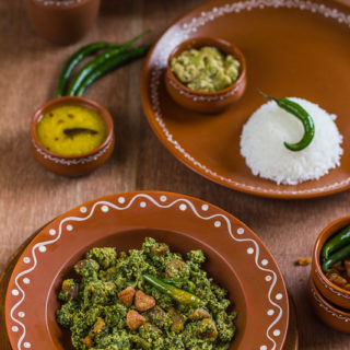 Kumro Shaak er Chorchori (Pumpkin Greens with Mustard and Poppy Seeds)