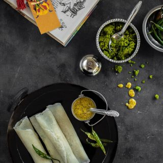 Koraishutir Patishapta (Savoury Crepes with Spicy Green Peas Stuffing)